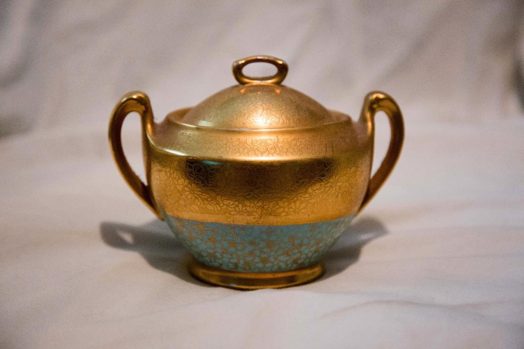 Gold and Floral Design Sugar Bowl with Lid Large Unsigned Pickard