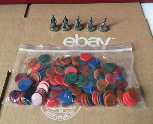 The American Girls Game Replacement Parts Pieces 5 Pewter Tokens + Plastic Chips