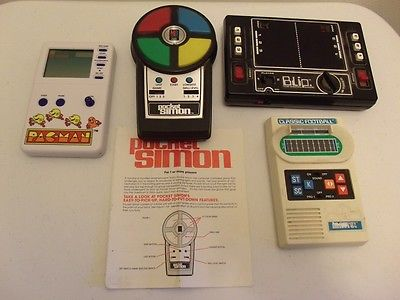 4 Vintage Hand Held Video Games - Pacman- Football - Simon - Blip , all working