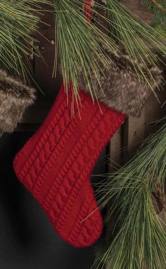 Christmas stocking cable knit faux fur cuff TK343 19.5