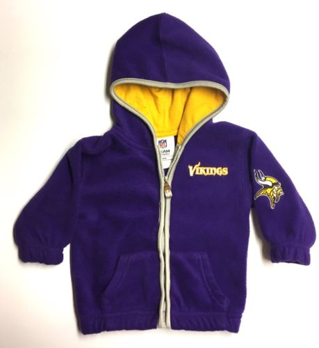 NFL Minnesota Vikings VGUC 6-9M Boy Purple Fleece Hooded Zip Up Football Jacket