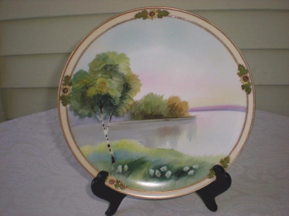 Nippon Plates Hand Painted Scenery Birch and Daisy M in Wreath Mark ( Morimura)