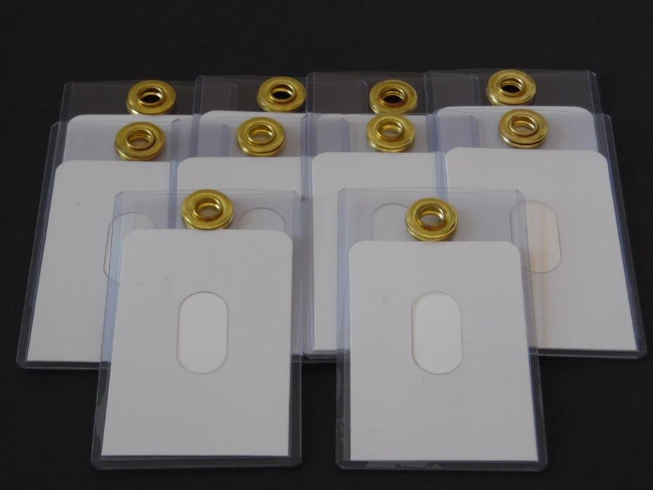 Clear Plastic ID Holder with Gold-Tone Loop Lot of 10