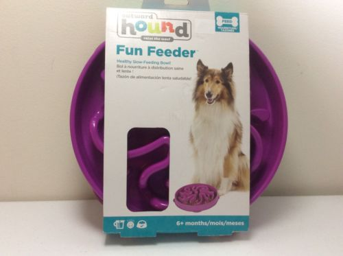 OUTWARD HOUND FUN FEEDER DOG Slow feeder, stop bloat for Dogs, Large, Purple,