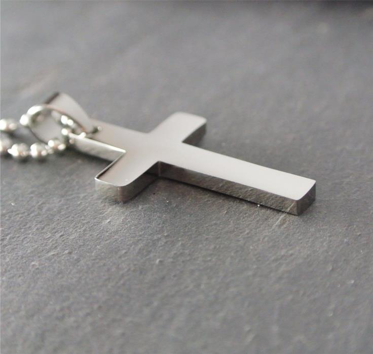 Men's Cross Thick Stainless Steel Cross Curb Chain Necklace