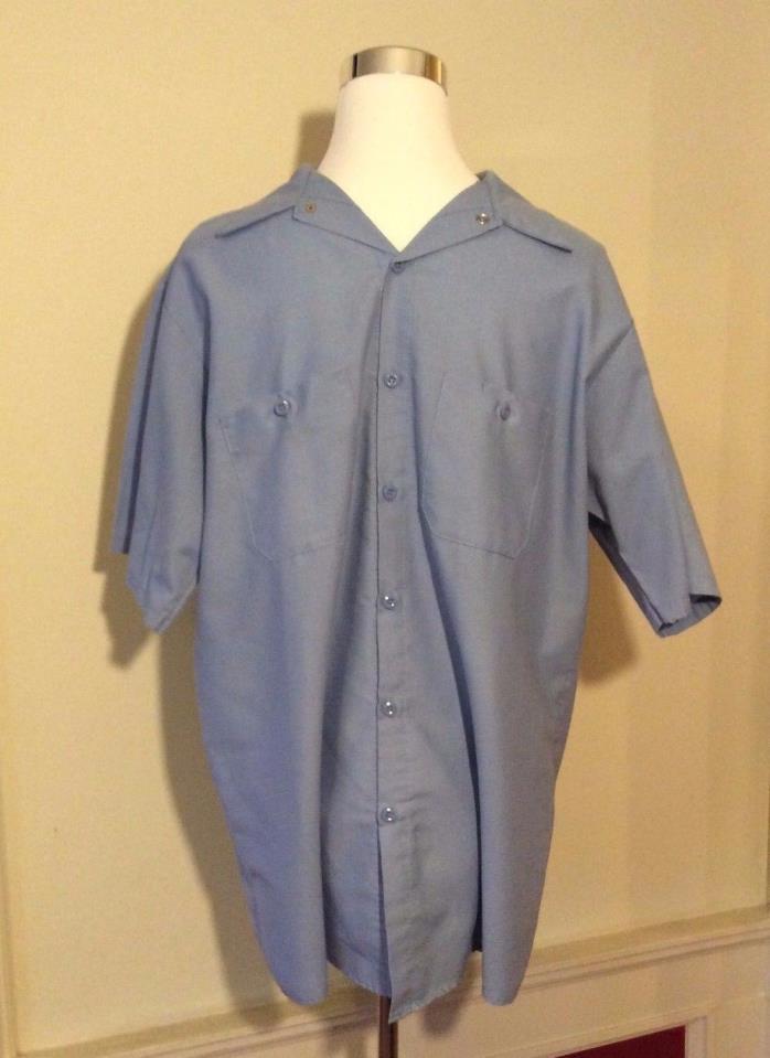 Men's Blue Red Kap Button Up Large Work Uniform Shirt Size Large