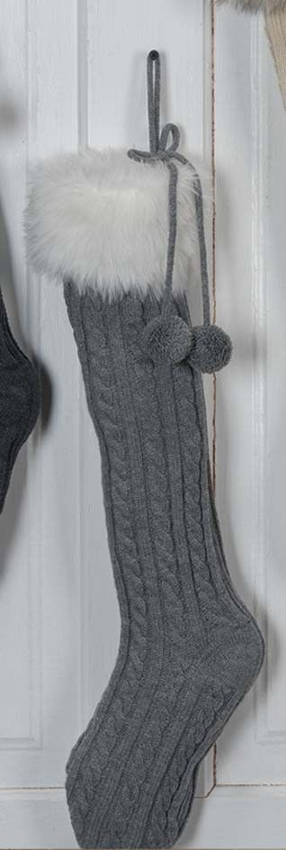 Christmas stocking cable knit faux fur cuff YA217 gray 24