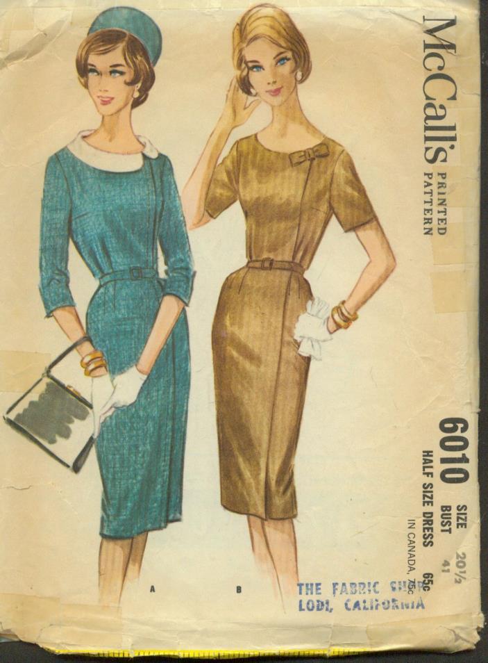 HALF sz 20.5(BUST 41)SLIM/PENCIL DRESS SLEEVE VARIATIONS VINTAGE PATTERN'50's