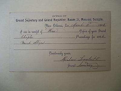 1906 Postcard Grand Secretary and Recorder Room 21 Masonic Temple New Orleans LA