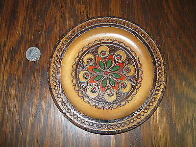 Vintage Polish Carved Wood Wall Plate -  Poland  - Art - 7