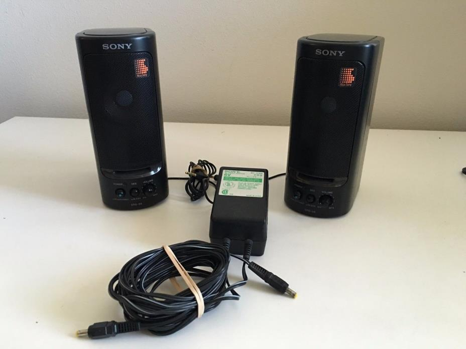 Sony SRS-58 Stereo Speaker System Walkman Discman iPod with AC Adapter