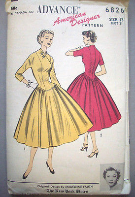 1950's Madeleine Fauth designer Princess dress  pattern 6826  Size 13