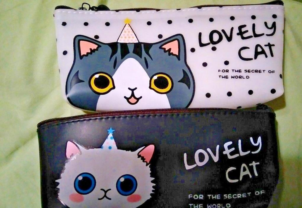 lovely cat pencil case/make up case 4 designs! Brand New! Soft Plastic