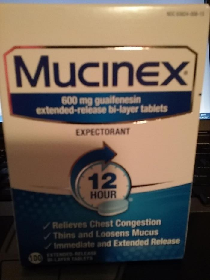 New Sealed Mucinex 12-Hour Extended Release Bi-Tablets 100 Count Free Ship!