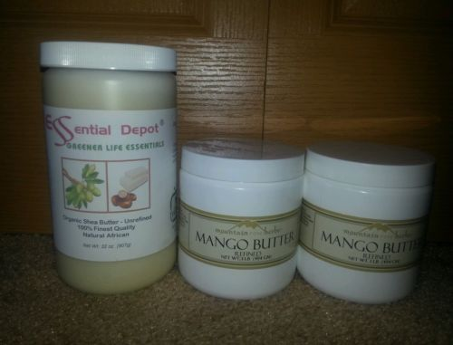 Mountain Rose Herbs Mango Butter 2 lbs & Essential Depot Shea Butter 2 lbs