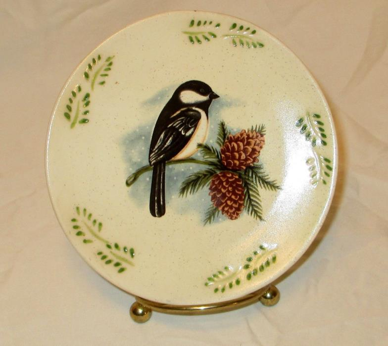 Collectible Decorative Plate Chickadee MWW Market Bird Watcher Collectible  4.75