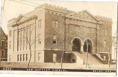 REAL PHOTO Postcard WAYNE Nebraska/NE  New Baptist Church 1910?