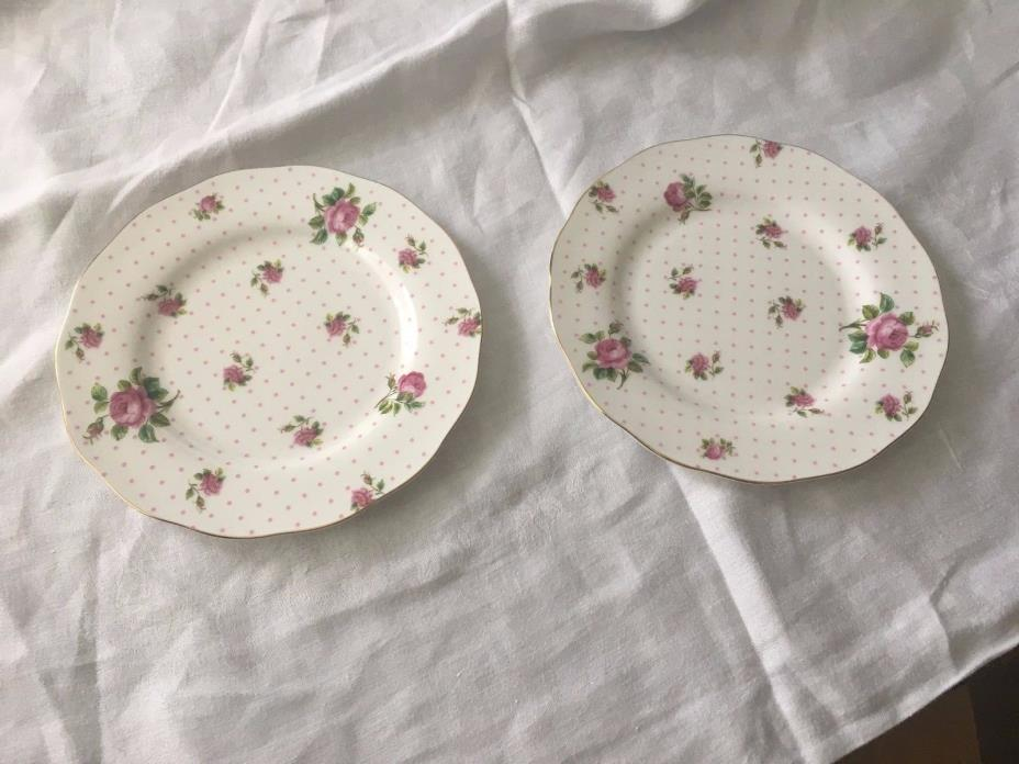 ROYAL ALBERT 2 NEW CHINTZ FLORAL CHEEKY PINK   SALAD / LUNCHEON  PLATES