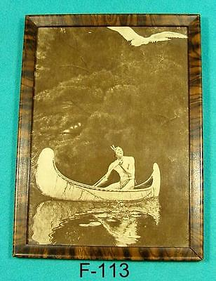 F-113 Antique Framed print, INDIAN IN CANOE, Sepia Photo Print, 7 X 9 1/2