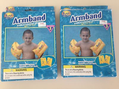 Lot of 2 Brand New Surf Club Arm Band Inflatable Rings Safety Swimming Ages 3-6