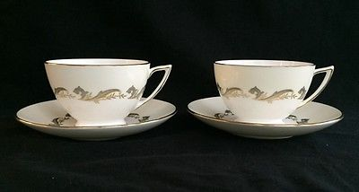 Set of 2 Minton Gold Laurentian H-5184 Footed Cups & Saucers Gold Trim