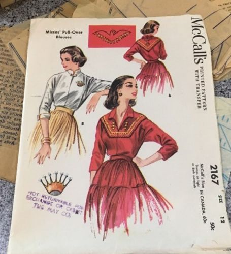 McCalls #2167 Sewing Pattern Size 12 Pullover Blouse Crown Southwest Transfer