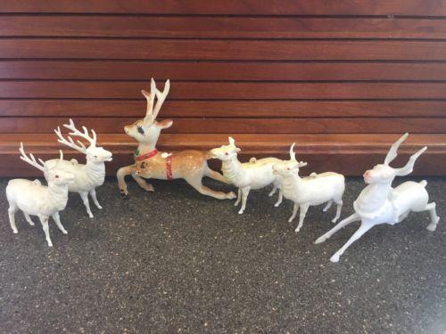 6 Vintage Plastic Reindeer Deer Christmas Decorations Holiday Decor