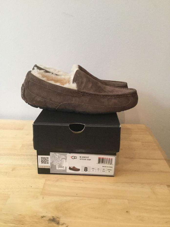 UGG Australia Ascot Slipper Slip on suede Espresso Brown mens shoes size 8