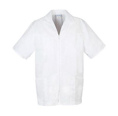 Med-Man Men's Zip Front Jacket 1373 White WHT