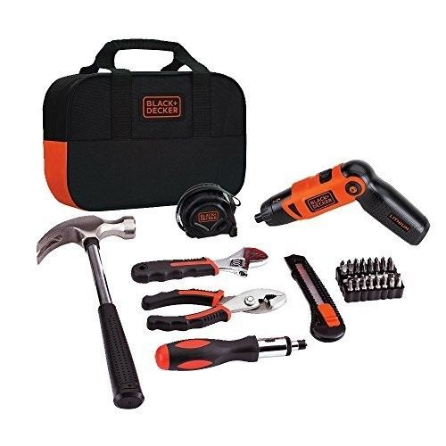 Black & Decker Screwdriver Cordless With Project Tool Kit Set And Carrying Bag