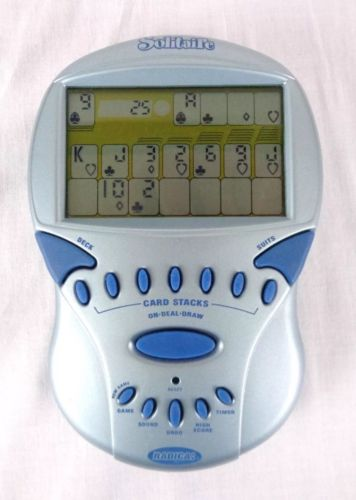 Radica Big Screen Solitaire Handheld Electronic Game Gray Blue 2000 WORKING