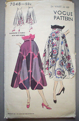 1950's Vogue Circular Skirt  pattern 7048 waist 24