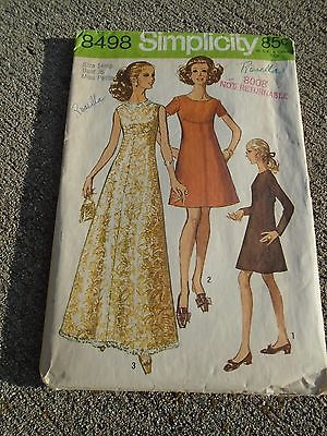Vintage sewing pattern Maxi Dress 1960s  Simplicity 8498 Miss 14 Petite evening