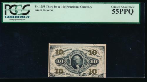 AC Fr 1255 $0.10 1864 fractional Third Issue PCGS 55 PPQ green reverse