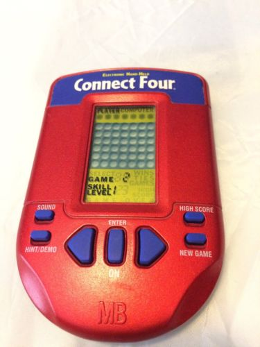 Connect Four Milton Bradley Handheld Red Electronic