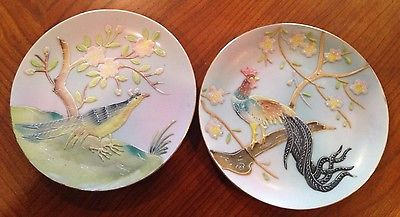 2 Decorative Wales China plates  Made in Japan featuring a peacock and a phesant