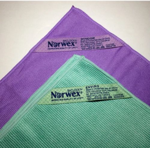Norwex Basic Package 1 Green EnviroCloth & 1 Purple Window Cloth Microfiber NEW!