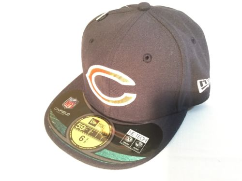 NWT NFL Chicago Bears New Era 59Fifty Black Cap, Hat Size 6 3/8 51.1cm