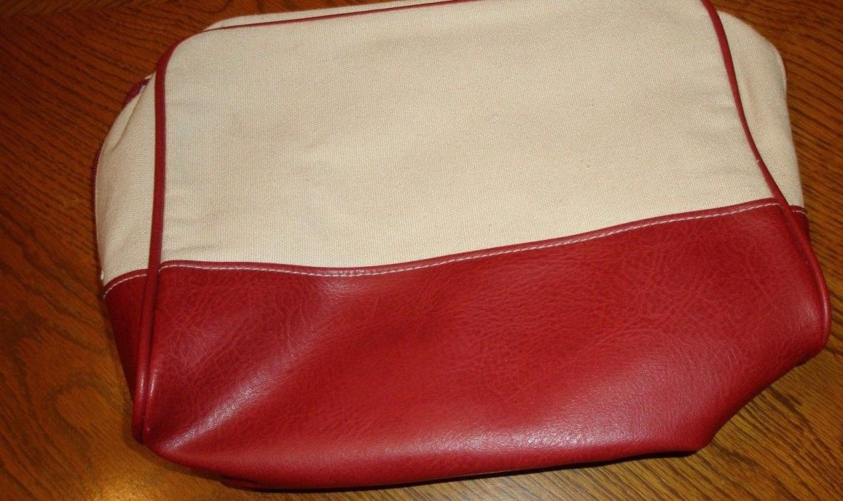 ESTEE LAUDER ~ Cosmetic Makeup Bag  ~ Pouch Case ~ BEIGE AND RED ~ NEW