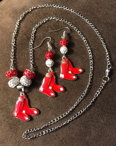 Chicago Red Sox Bling necklace and earrings set with Logo charms
