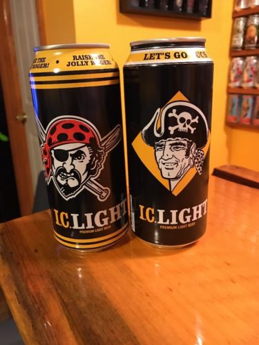 2 Different IC Light Pittsburgh Pirates 16 oz Beer Cans