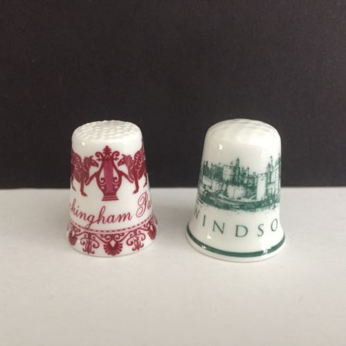 2 Porcelain Thimbles BUCKINGHAM PALACE & WINDSOR CASTLE