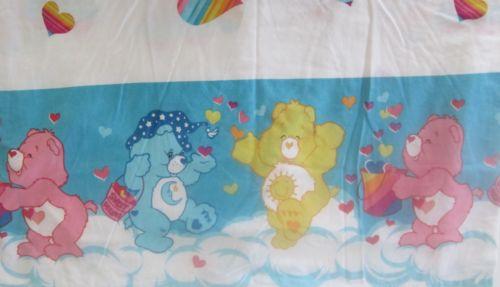 Care Bear 2002 Sweet Dreams Rainbow Hearts Flat Sheet Twin Fabric Crafts Bedding