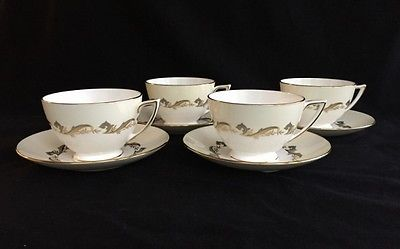 Set of 4 Minton Gold Laurentian H-5184 Footed Cups & Saucers Gold Trim