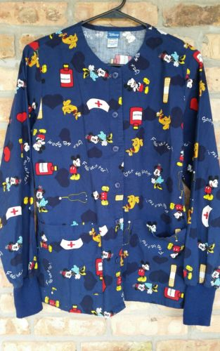 Disney Mickey Minnie Mouse Nurse Scrub Jacket Long Sleeve Top Blue Coat Sz XS