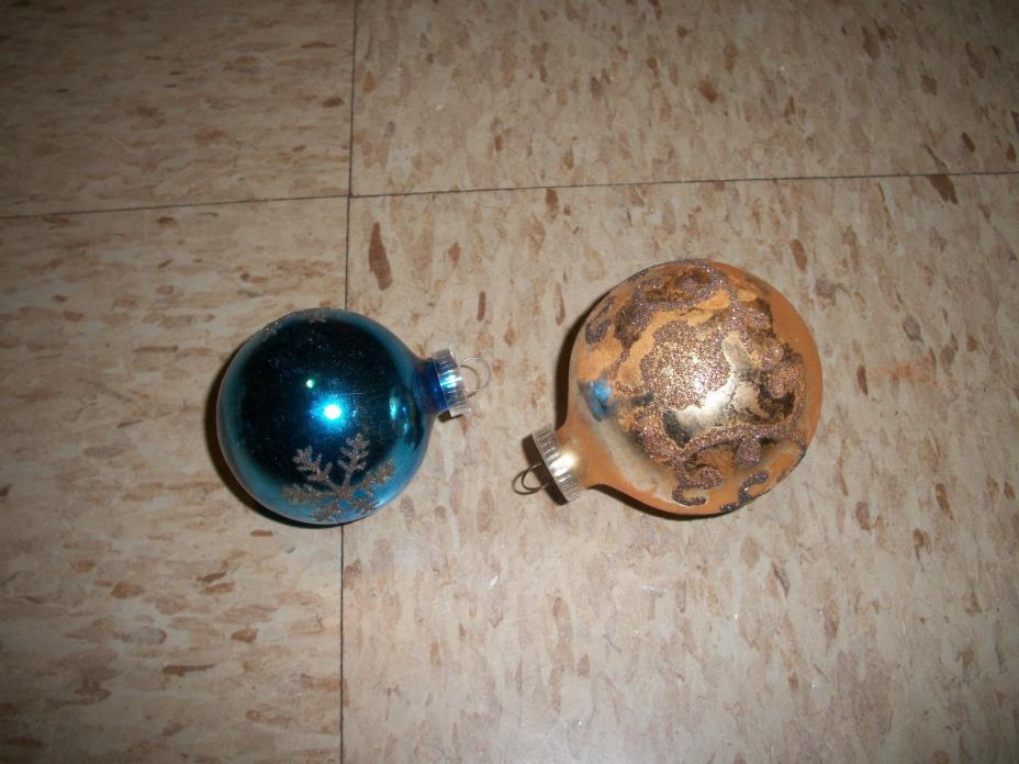 Lot of 2 Vintage Glass Christmas Tree Ornaments made in Austria
