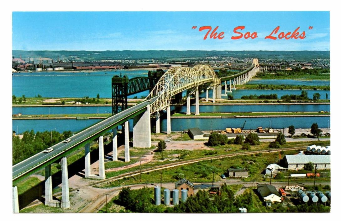 Soo Locks Sault Ste Marie Michigan Vintage Postcard International Bridge St Mary