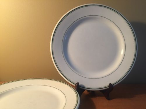 2 McNicol China White Green Lines Dinner Plates Thick Heavy Restaurant Ware 9