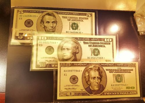 1996 $5 $10 $20 BOSTON FEDERAL RESERVE STAR NOTE * COLLECTION GEM BILLS CURRENCY