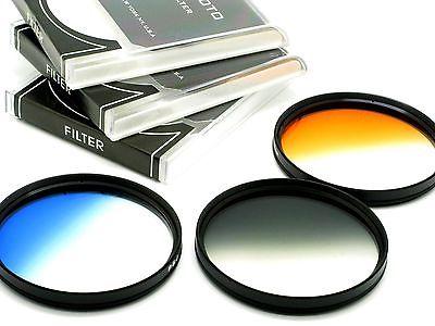 72mm Graduated Grey, Orange, Blue, Filters For Canon Nikon SLR Digital Cameras